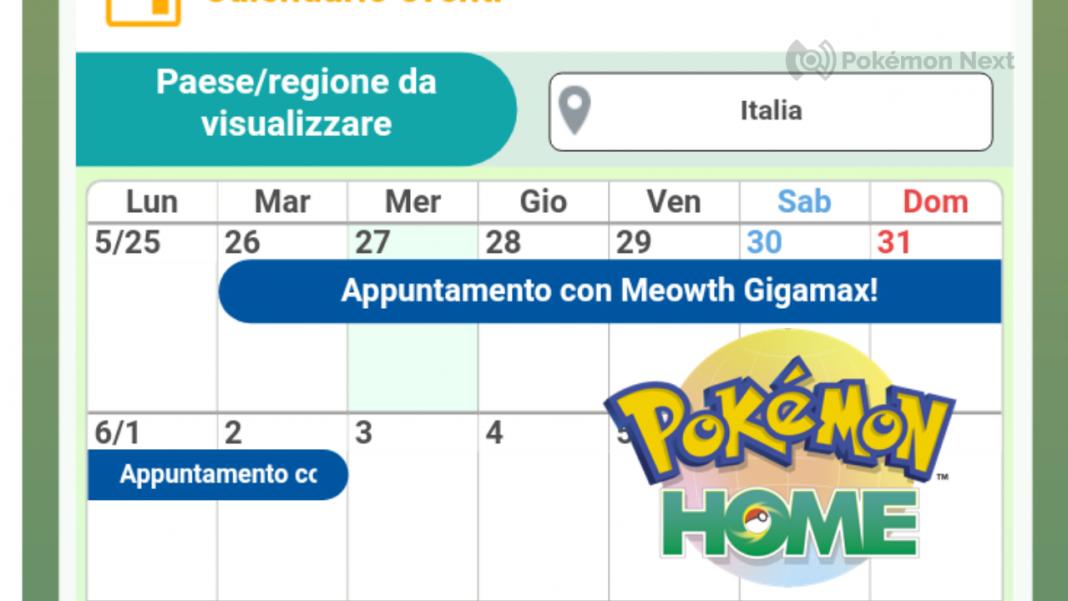 Pokémon HOME nuova funzione Calendario Eventi