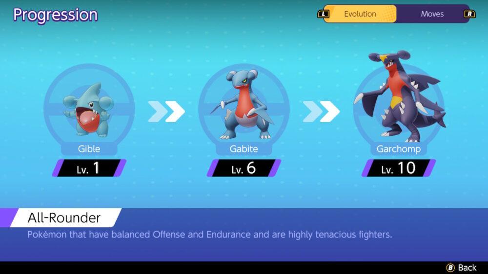 Pokémon UNITE Garchomp Evolutionary Chain